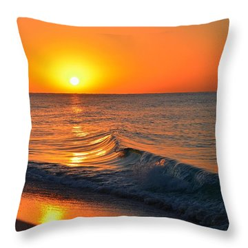 Calm And Clear Sunrise On Navarre Beach With Small Perfect Wave Throw Pillow by Jeff at JSJ Photography