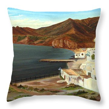 Throw Pillow featuring the painting Calm Bay by Angeles M Pomata
