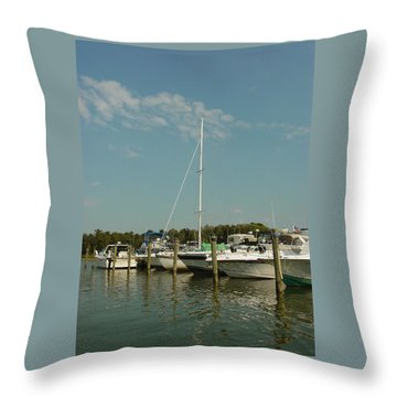 Throw Pillow featuring the photograph Calm Day At The Marina by Dorothy Maier