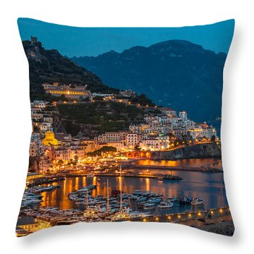 Calm Night Over Amalfi Coast Throw Pillow