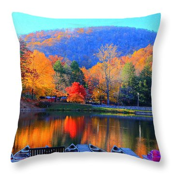 Calm Waters In The Mountains Throw Pillow
