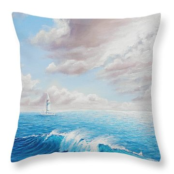 Calming Ocean Throw Pillow by Joe Mandrick