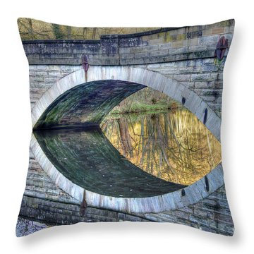 Calver Bridge Reflection Throw Pillow