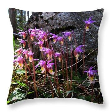 Calypso Orchids Throw Pillow