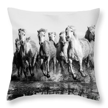 Camargue Horses At The Gallop Bw Throw Pillow