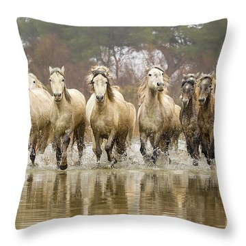 Camargue Horses At The Gallop Throw Pillow