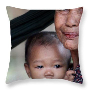 Cambodian Grandmother And Baby #3 Throw Pillow by Nola Lee Kelsey