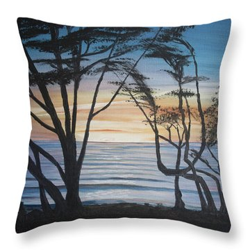 Cambria Cypress Trees At Sunset Throw Pillow