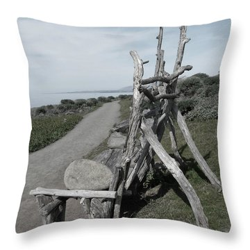 Cambria Driftwood Bench 2 Throw Pillow
