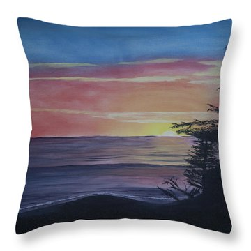 Throw Pillow featuring the painting Cambria Setting Sun by Ian Donley