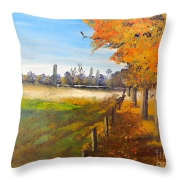 Throw Pillow featuring the painting Camden Farm by Pamela  Meredith
