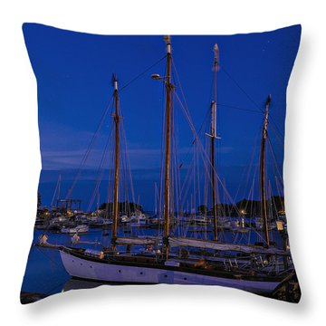 Camden Harbor Maine At 4am Throw Pillow by Marty Saccone