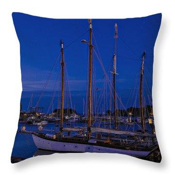 Camden Harbor Maine At 4am Throw Pillow