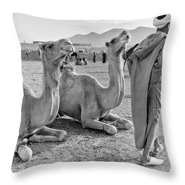 Camel Market, Morocco, 1972 - Travel Photography By David Perry Lawrence Throw Pillow