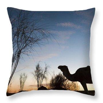 Camel Sunset Throw Pillow