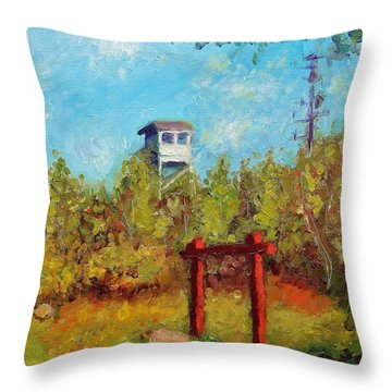Camel Top Fire Tower Throw Pillow by Jason Williamson