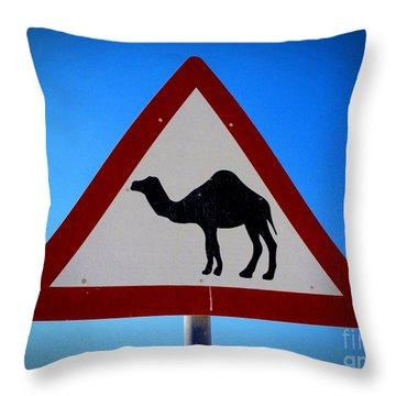 Throw Pillow featuring the photograph Camel Warning Road Sign by Henry Kowalski