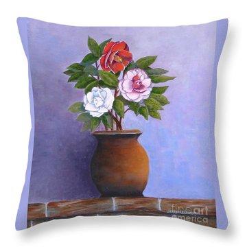 Camellia Bouquet Throw Pillow