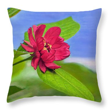 Camellia Throw Pillow by Marion Johnson
