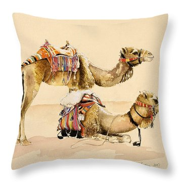 Camels From Petra Throw Pillow by Alison Cooper