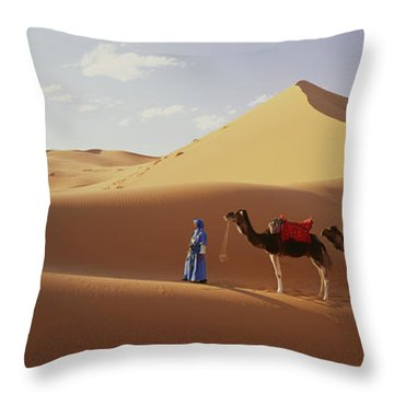 Camels In Desert Morocco Africa Throw Pillow