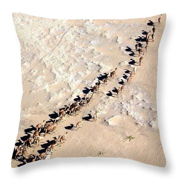 Camels Walking In Desert Throw Pillow