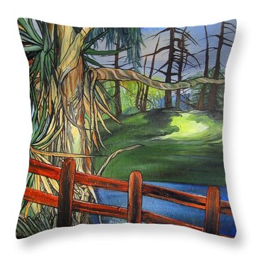 Throw Pillow featuring the painting Camino Real Park by Mary Ellen Frazee