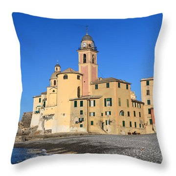Throw Pillow featuring the photograph Camogli Seaside And Church by Antonio Scarpi