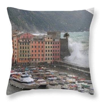 Throw Pillow featuring the photograph Camogli Under A Storm by Antonio Scarpi