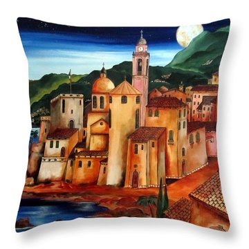 Camogli Under The Moon Throw Pillow