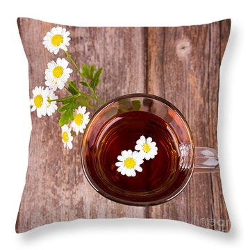 Camomile Tea Throw Pillow by Jane Rix