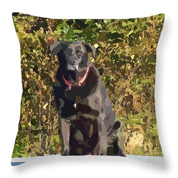 Camouflage Labrador - Black Dog - Retriever Throw Pillow by Barbara Griffin