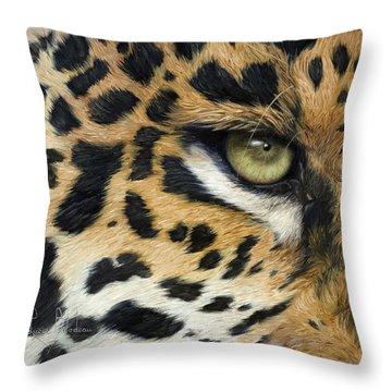 Green Eyes Throw Pillows