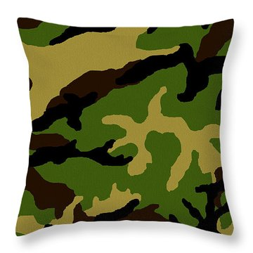 Throw Pillow featuring the painting Camouflage Military Tribute by Roz Abellera Art