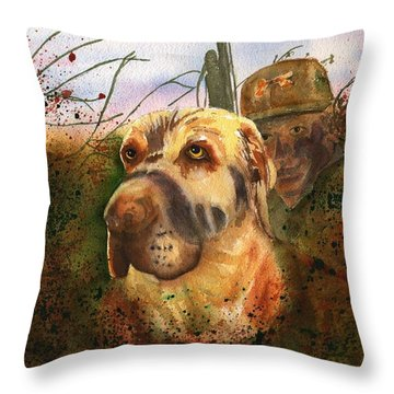 Camouflaged Hunters Throw Pillow