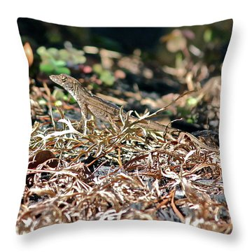 Camouflaged Lizard Throw Pillow by Cyril Maza