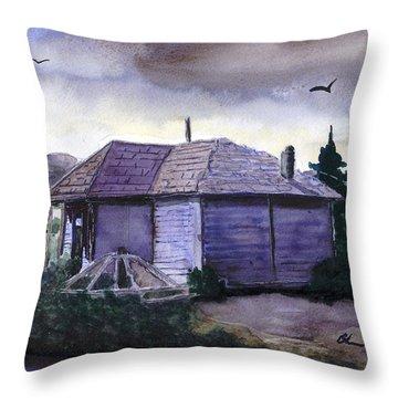 Camp Creek School Watercolor Throw Pillow