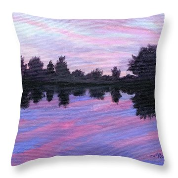 Throw Pillow featuring the painting Camp Sunset by Lynne Reichhart
