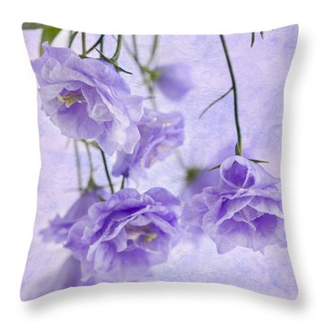 Campanella Blossoms Suspended - Macro Throw Pillow by Sandra Foster