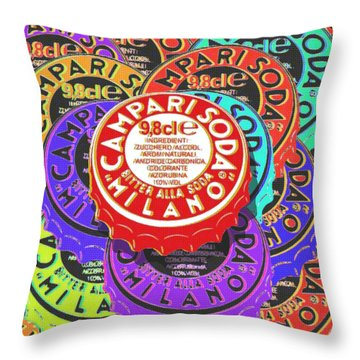 Campari Soda Caps Throw Pillow
