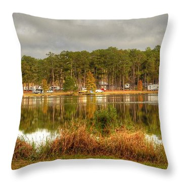 Campers Across The Lake Throw Pillow