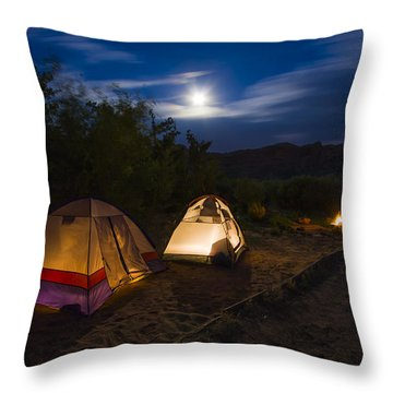Campfire And Moonlight Throw Pillow by Adam Romanowicz