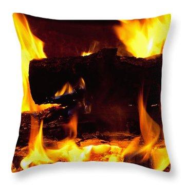 Campfire Burning Throw Pillow