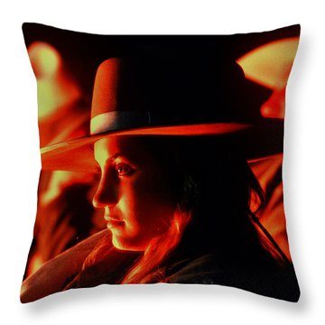 Campfire Glow Throw Pillow by Diane Bohna