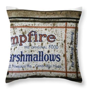 Campfire Marshmallows Tin Throw Pillow by Lynn Palmer