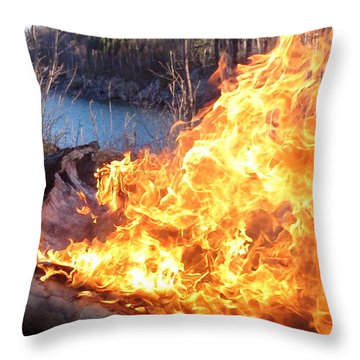 Throw Pillow featuring the photograph Campfire by James Peterson