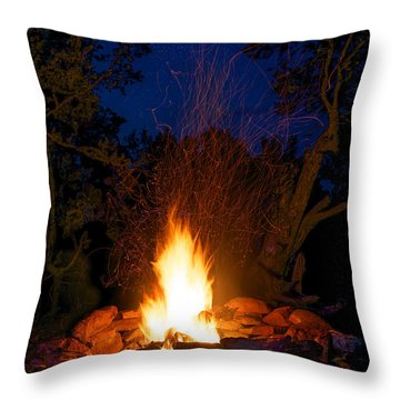 Campfire Under The Stars Throw Pillow