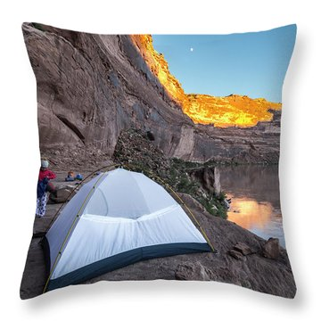Camping Along The Labyrinth Canyon Throw Pillow