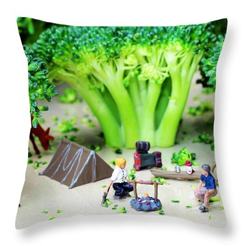Camping Among Broccoli Jungles Miniature Art Throw Pillow by Paul Ge