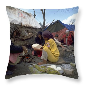 Camping In Iraq Throw Pillow